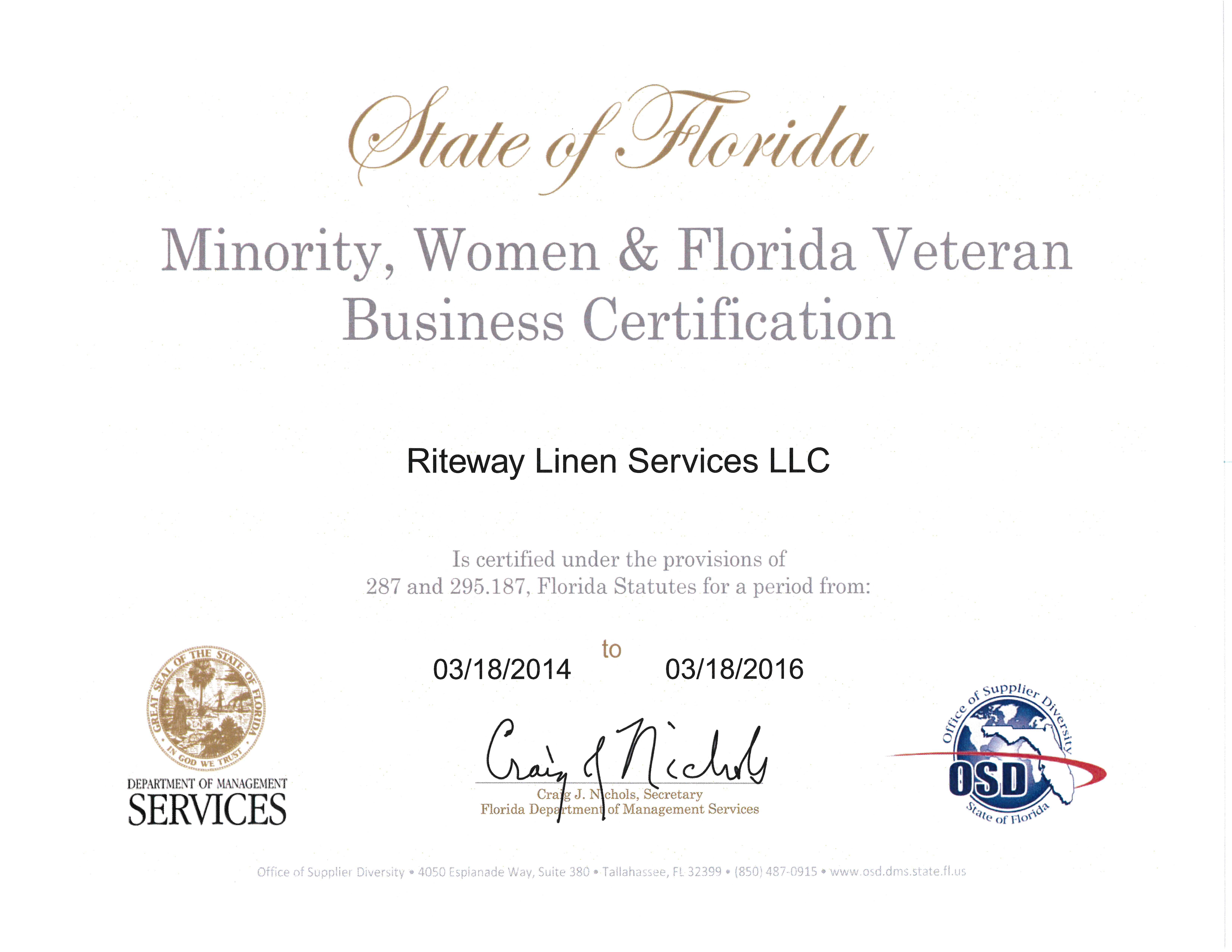 """Riteway Linen Services now Certified as a """"Minority Owned"""